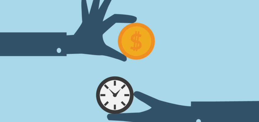 Illustration of two hands, one coming from the left holding a gold coin with a dollar sign on it; the other hand coming from the right holding a clock. The hands are dark blue and the background is light blue. The coin is gold, the clock is black and white.
