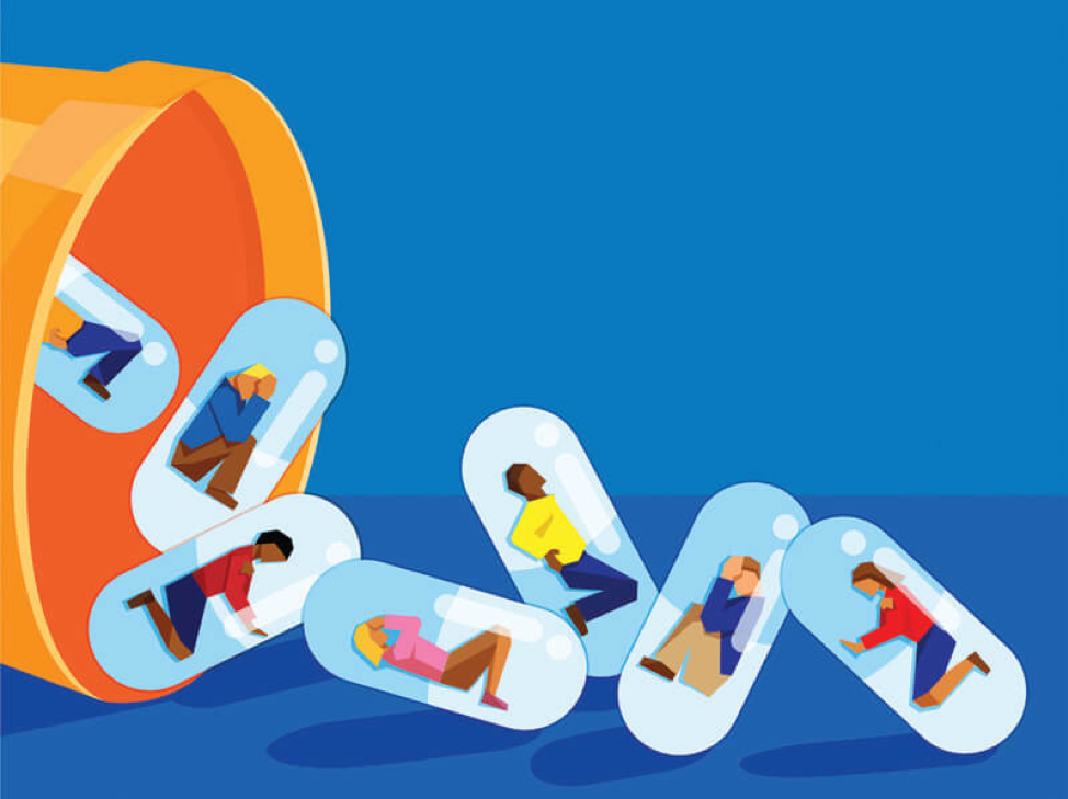 illustration of people in pill capcules falling out of a prescription pill bottle