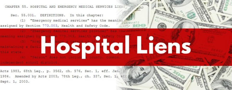 "Image of the text of Ala. Code §§ 35-11-371, 35-11-372 fading into an image of hundred dollar bills with a red transparent banner that reads ""Hospital Liens"" in white lettering"