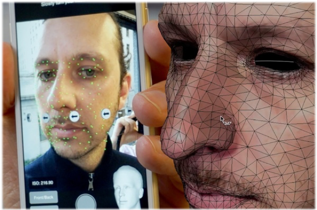 color photo of a 3D rendering of someone's face next to a phone app that was used to create the 3D rendering based on facial-scan technology