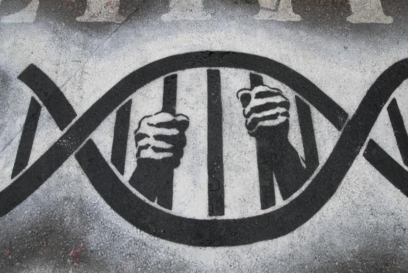 "Black and white photo of a spraypainted design of DNA helicase with and someone's hands holding the ""bars"" of the DNA helicase structure"