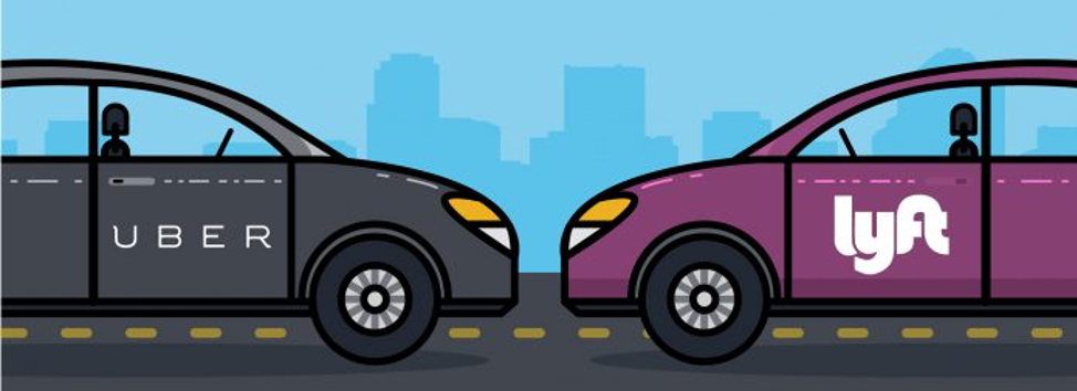 a picture of a uber car and lyft car facing each other.